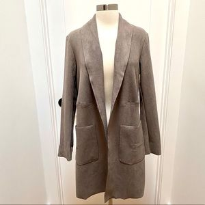 JOAN VASS Shawl Collar Faux Leather Mid Jacket